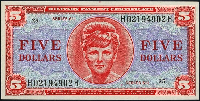 5 Dollars Military Payment Certificates, Series 611.JPG
